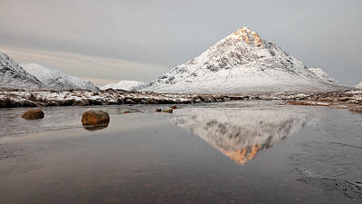Stob Dearg Photograph - Mountain Reflection On The River Etive by Grant Glendinning