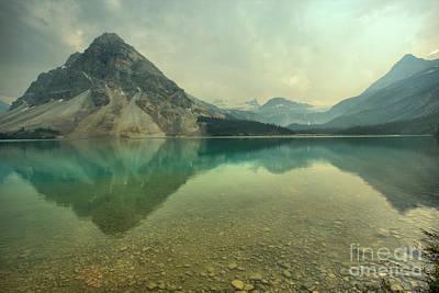 Photograph - Mountain Reflections In Bow Lake by Adam Jewell