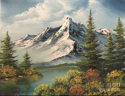 Mountain Reflections  Art Print by Paintings by Justin Wozniak