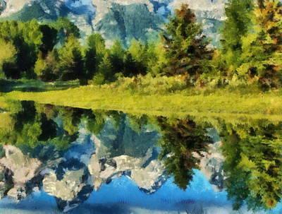 Mountain Reflections Art Print by Russ Harris