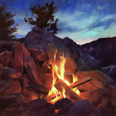 Campfire Paintings | Fine Art America Campfire Painting