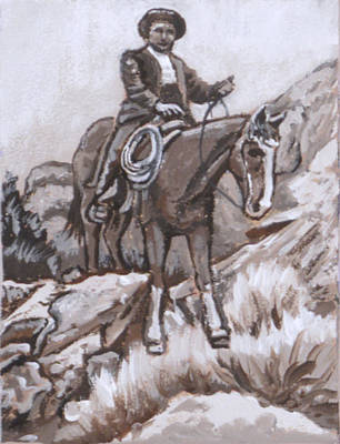 Painting - Mountain Ride Historical Vignette by Dawn Senior-Trask