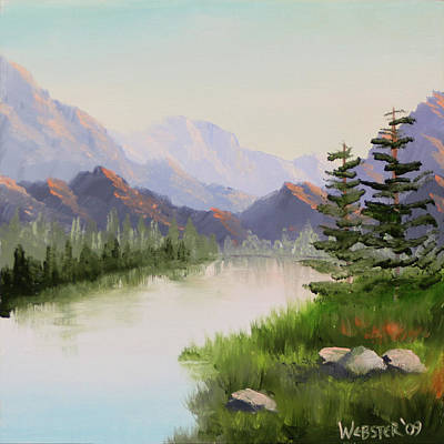 Daily Painter Painting - Mountain River Overture Landscape Oil Painting By Northern California Artist Mark Webster  by Mark Webster