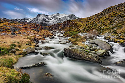 Mountain River Snowdonia  Art Print by Adrian Evans