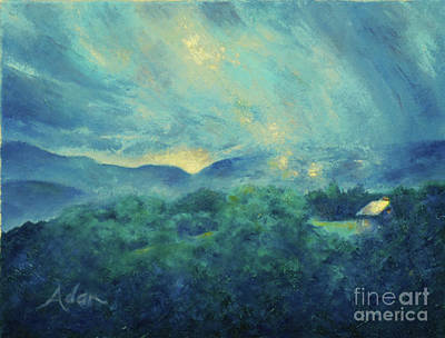 Painting - Mountain Road Cabin And Sunrise Stowe Vermont Painting by Felipe Adan Lerma
