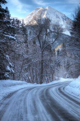 Snowy Mountain Loop Photograph - Mountain Road In Winter by Utah Images