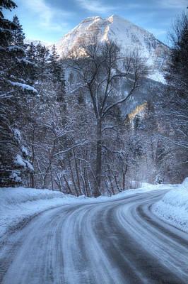 Mountain Road In Winter Art Print by Utah Images