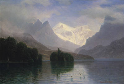 Mountain Scene Art Print by Albert Bierstadt