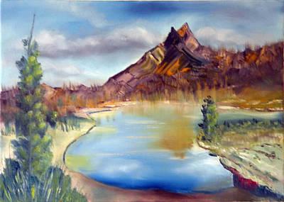 Mountain Scene With Lake Art Print by Miriam Besa