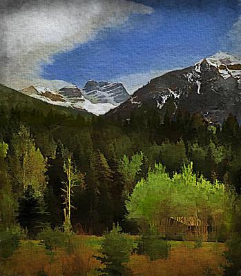 Linda King Digital Art - Mountain Scenic Watercolor 8x10 4107 by Linda King