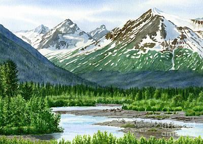 Glacier Alaska Painting - Mountain Shadows Glacier Valley by Sharon Freeman