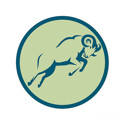 Mountain Goat Digital Art - Mountain Sheep Jumping Circle Icon by Aloysius Patrimonio