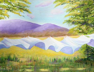 Laundry Painting - Mountain Sheets by Pauline Ross