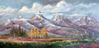 Lynn Burton Wall Art - Painting - Mountain Sky Line by Lynn Burton