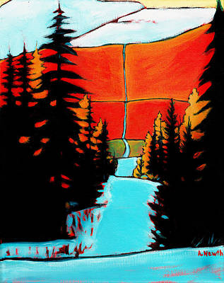 Wall Art - Painting - Mountain Snow Trail by Alison Newth