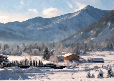 Snowscape Painting - Mountain Snowscape by Danny Smythe