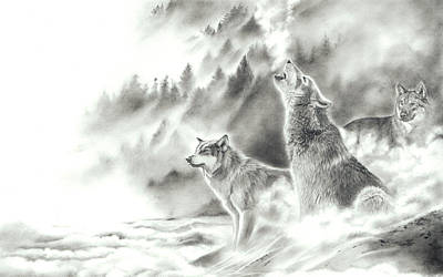 Drawing - Mountain Spirits by Peter Williams