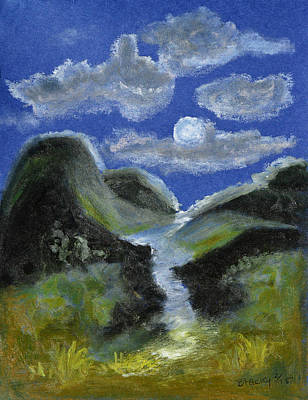 Silver Moonlight Pastel - Mountain Spring In The Moonlight by Donna Blackhall