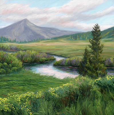 Montana Landscape Painting - Mountain Stream 2 by Lucie Bilodeau