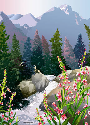 Mountain Stream Art Print by Anne Gifford