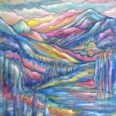 Painting - Mountain Stream Closeup by Jean Batzell Fitzgerald