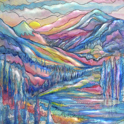 Painting - Mountain Stream by Jean Batzell Fitzgerald