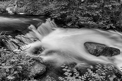 Photograph - Mountain Stream Waterfall In Black And White by James BO  Insogna