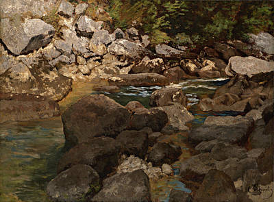 Mountain Stream With Boulders Art Print