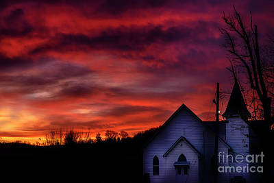 Art Print featuring the photograph Mountain Sunrise And Church by Thomas R Fletcher