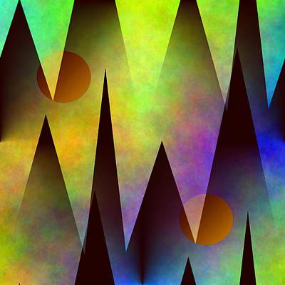 Contemporary Digital Art - Mountain Sunset Abstract by Kathleen Sartoris