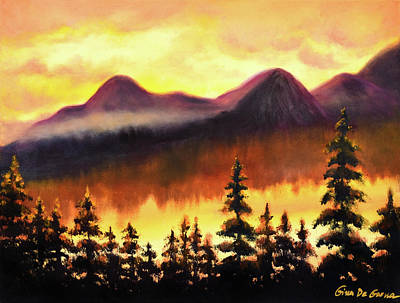 Painting - Mountain Sunset by Gina De Gorna