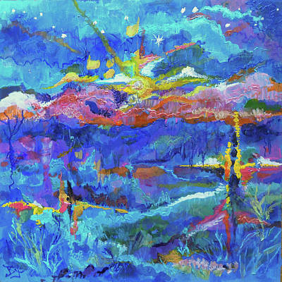 Painting - Mountain Sunset by Jean Batzell Fitzgerald