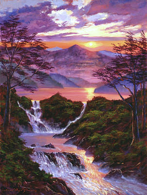 Painting - Mountain Sunset Lake by David Lloyd Glover