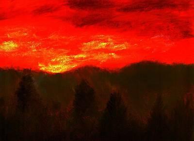 Teton Drawing - Mountain Sunset by Melvin Moon