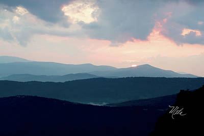 Print featuring the photograph Blue Ridge Mountain Sunset by Meta Gatschenberger