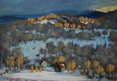 Falling Snow Painting - Mountain Sunspot Study by Len Stomski