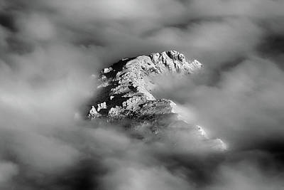 Mountain Tops  Peeking Through The Clouds In Black And White Print by James BO Insogna