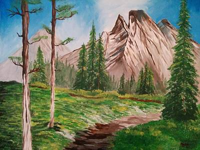 Bob Ross Drawing - Mountain Trail  by Nura Abuosba