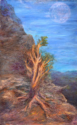 Polymer Painting - Mountain Tree With Moon by Walter Idema