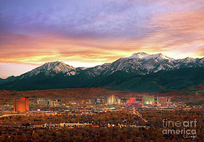 Mountain Twilight Of Reno Nevada Art Print by Vance Fox