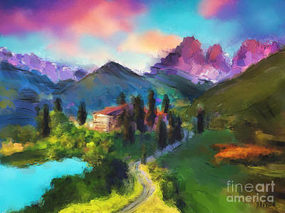 Lake House Painting - Mountain Valley by Melanie D