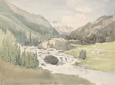 Valley Drawing - Mountain Valley by Thomas Ender