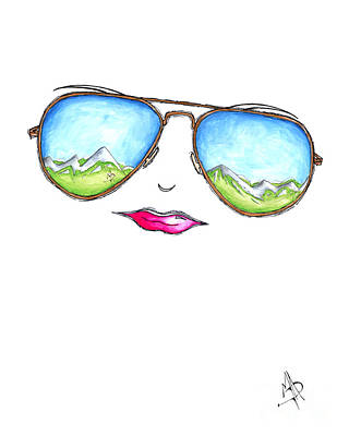 Aviator Painting - Mountain View Aviator Sunglasses Pop Art Painting Pink Lips Aroon Melane 2015 Collection by Megan Duncanson