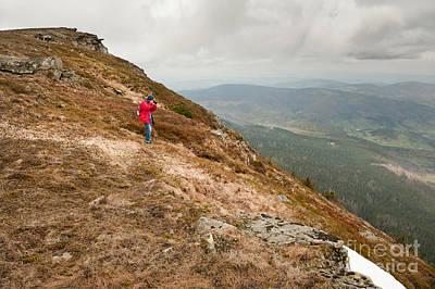 Mountain View Taking Photo Art Print by Arletta Cwalina