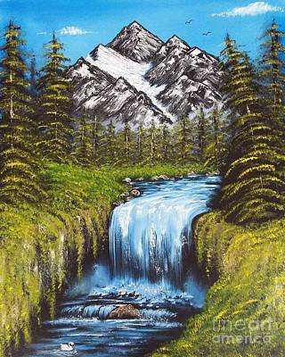 Bob Ross Painting - Mountain Views by Angela Whitehouse