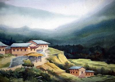 Art Print featuring the painting Mountain Village From Top View by Samiran Sarkar