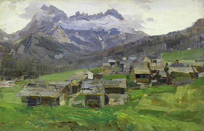 Mountain Valley Painting - Mountain Village by Mountain Dreams