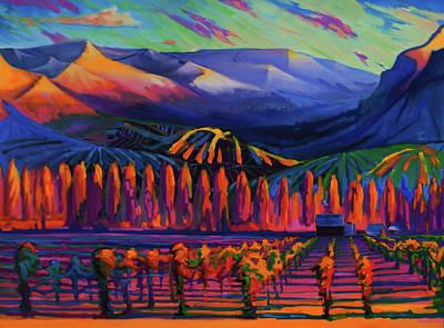 Pastoral Vineyards Painting - Mountain Vineyards, Chelan, Wa, Usa by Gregg Caudell