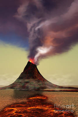 Burnt Digital Art - Mountain Volcano by Corey Ford