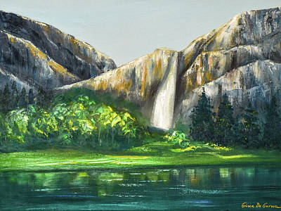 Painting - Mountain Waterfall by Gina De Gorna